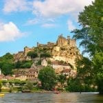 Nature landscape with Dordogne River and Château de Beynac