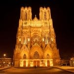 Notre Dame Cathedral in Reims at night