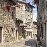 Cobblestone streets in the medieval village of Perouges