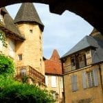 View from the arch in medieval town of Sarlat, France