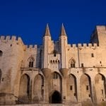 Pope's palace in Avignon at night