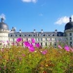 Beautiful Valencay castle with field of flowers, Loire, France