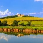 Chateauneuf in Burgundy, France from the Dijon canal
