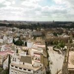 Panorama of Sevilla, Spain overlooking Cathedral
