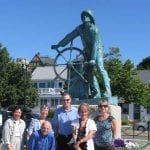 Stopping for a photo in front of the fisherman statue in Gloucester