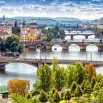 View of the many bridges over the Vltava River in Prague