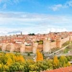 The ancient fortified walls of Avila, Spain encircle the entire city