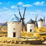 Typical windmills in the countryside of Spain
