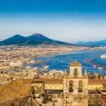 View over Naples, Italy with Mount Vesuvius in the background