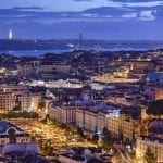 Aerial view of Lisbon at night