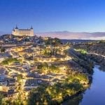 View of the city of Toledo, Spain at night