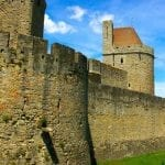 Ancient walls of Carcassonne in the Dordogne, France