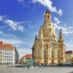 Dresden, Germany  – September 8, 2015:Dresden Frauenkirche (Church of Our Lady) is a Lutheran church in Dresden. 13th-century Church of the Holy Cross, the Kreuzkirche, the oldest church within Dresden's town wallsSaxony, Germany.