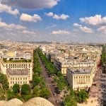 Paris panorama with Champs Elysee from Arc de Triomphe