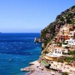 View towards the coastal town of Positano on the Amalfi coast of Italy