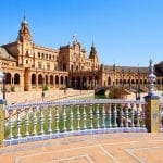 Plaza de Espana, Seville, Spain with bridge detail