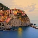 Village of Manarola, Italy on the Cinque Terre at sunset