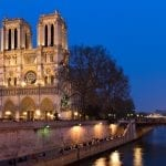 Notre Dame at the river Seine during twilight, Paris, France