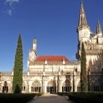 View of the façade of Batalha monastery built in 1385 in late gothic and manueline style