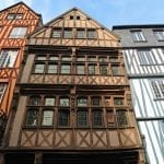 View of a typical facade of a house in Rouen