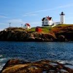 A sunrise at the Nubble Lighthouse, York, Maine