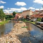 The River Vltava and coloured houses of Cesky Krumlov