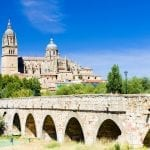 Cathedral and Roman bridge of Salamanca, Spain