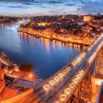 Panorama of Ponte dom Luis above Old Town Porto and Duoro River at night
