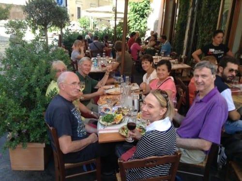 Dining in Rome's colorful Trastevere neighborhood.