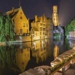 The canal and Belfry at night in Bruges