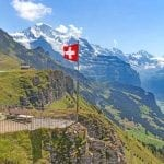Swiss flag flying at Mannlichen, Lauterbrunnen, Switzerland