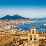 View over Naples to Mount Vesuvius