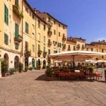 Oval City Square in Lucca, Tuscany, Italy