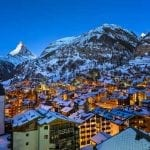Matterhorn behind the city of Zermatt at night