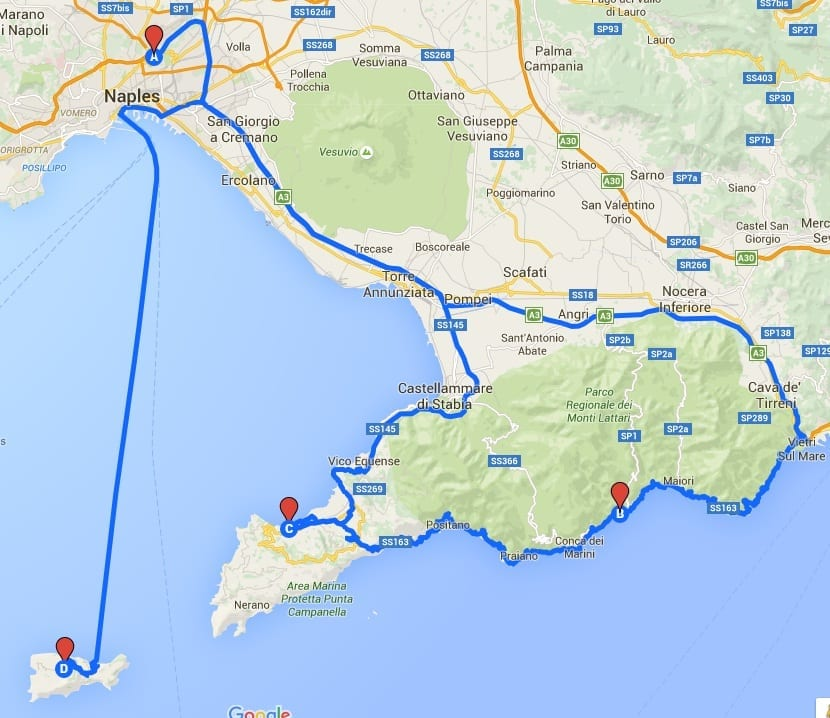amalfi capri map