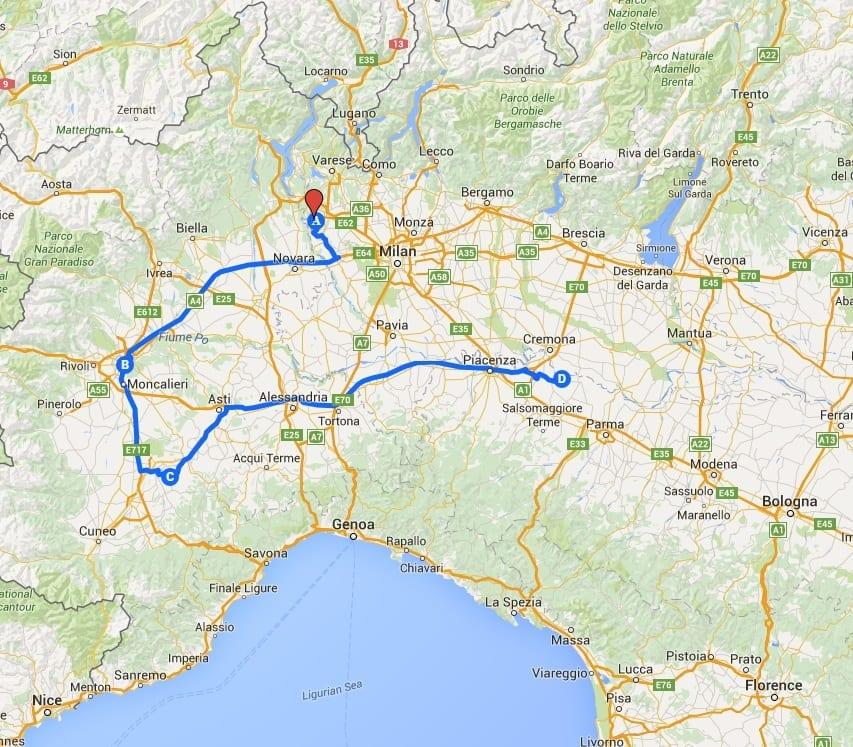 piedmont bologna emilia-romagna map