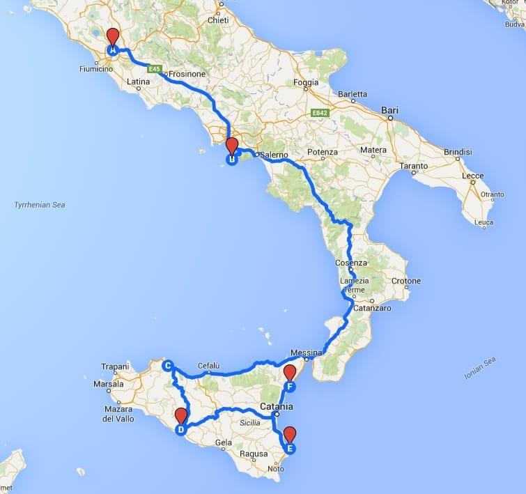 rome amalfi coast sicily italy map