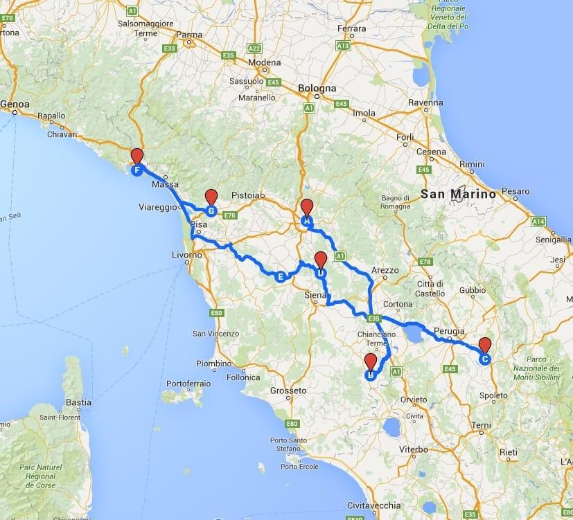 tuscany umbria cinque terre map