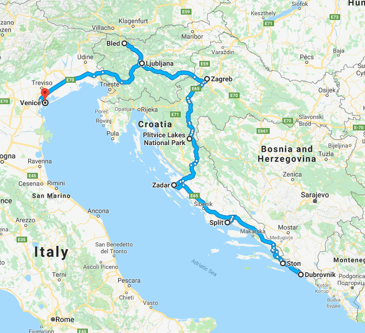 croatia slovenia venice map