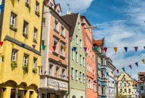 Buildings in the Old Town of Regensburg, Germany